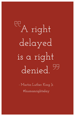 Red Human Rights Day Poster with Quote Campaign