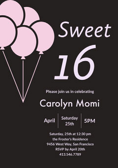 Pink and Black Sweet Sixteen Birthday Invitation Card with Balloons Balloon