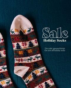 dark blue and white sock sale instagram portrait  Holiday Sale