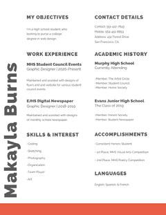 Red Web Designer High School Student Resume Designer
