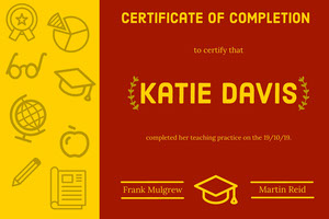Yellow and Red Illustrated Teacher Certificate of Completion  Certificate