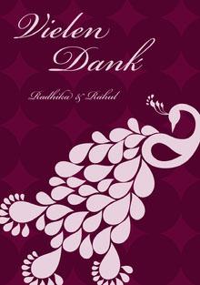 peacock Indian design wedding thank you cards Hochzeitsdankeskarten