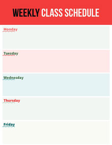 Red Weekly Class Schedule School Lesson Plan Class Schedule