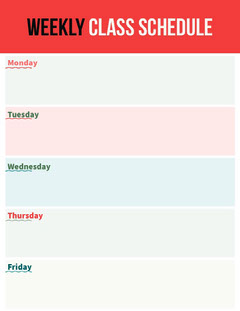 Red Weekly Class Schedule School Lesson Plan Education