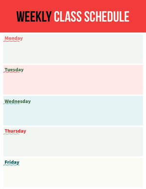Red Weekly Class Schedule School Lesson Plan Horario de clase