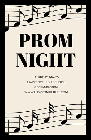 Black and White High School Prom Poster with Musical Notes Prom Posters