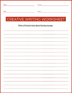 creative writing worksheet  Education