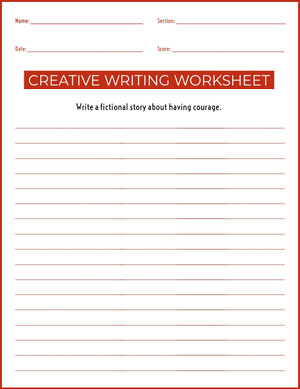 Creative Writing School Worksheet  Hoja de cálculo