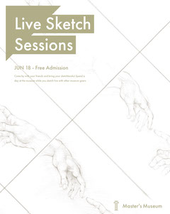 White, Bright Toned Live Sketch Session Event Instagram Portrait Museum
