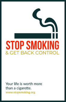 Stop Smoking Campaign Poster with Cigarette Illustration Poster
