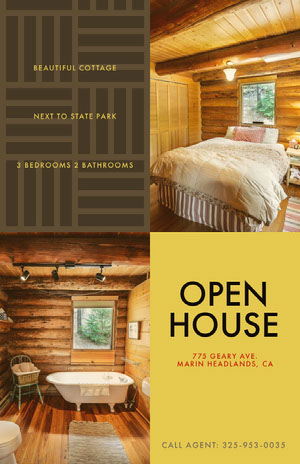 Log Cabin Open House Real Estate Agency Flyer Imobiliária