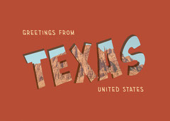 Red Orange and Yellow Greetings From Texas United States Postcard  Desert