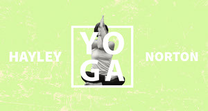 Lime and White Yoga Blog Banner with Photo of Woman Yoga Posters