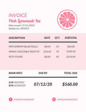 Pink and White Pink Lemonade Invoice 청구서