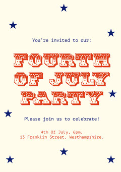 Red and Blue Stars Typography Fourth Of July Party Invitation Card 4th of July