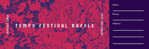 Red and Navy Blue Tempo Festival Raffle Ticket Bilhete de sorteio