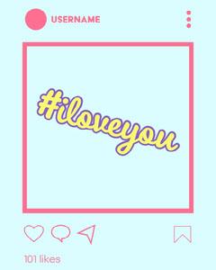 blue pink yellow neon instagram post I love you instagram portrait  Instagram Flyer