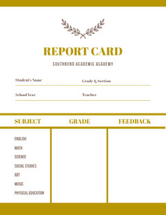 Gold Academy School Report Card Gold