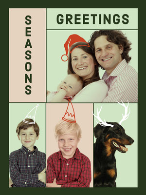 Green With Photos Christmas Card Family Collage