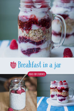 Breakfast in Jar Food Ideas Pinterest Graphic with Collage Healthy