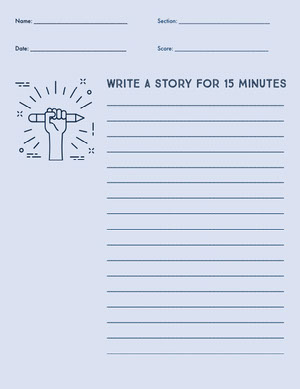 Blue and Black Empty Story Writing Worksheet  Hoja de cálculo