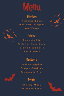 Orange and Black Halloween Spooky Bat Party Menu Scary