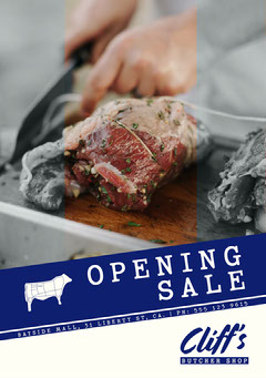 White and Blue Cliff's Butchery Grand Opening Instagram Portrait Grand Opening Flyer