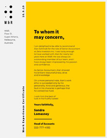 Yellow Modern Accountant Recommendation Letter Lettera