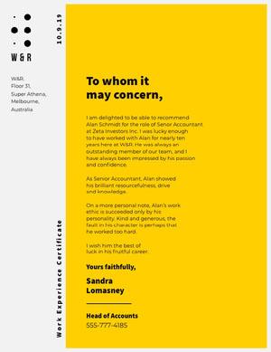 Yellow Modern Accountant Recommendation Letter Declaração de experiência