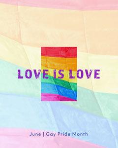 Rainbow Gay Pride Month Love Is Love Instagram Portrait  Pride