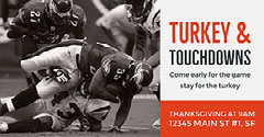 Grey and Red Thanksgiving Sport Event Facebook Banner Ad  Football