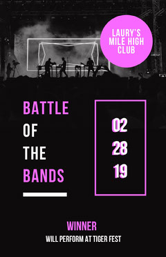Pin and Black Battle Bands Poster Band