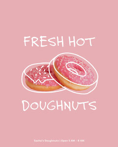 Pink and White Doughnut Ad Instagram Portrait Bakery
