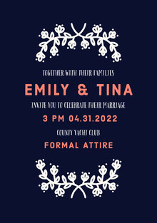 Red White and Black Wedding Invitation Bryllupskort
