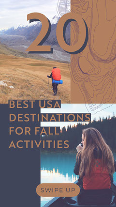 ig story fall destinations grid collage hiking canoeing mountain topography  Fall