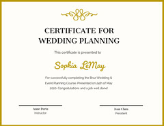 Gold Decorative Wedding Planning Course Completion Certificate Educational Course