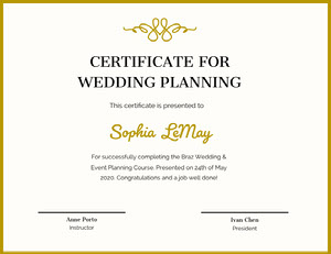 Gold Decorative Wedding Planning Course Completion Certificate Certificat