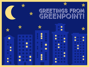 Blue and Yellow Illustrated Greetings from Greenpoint Skyline Night Presentation Slide Presentation
