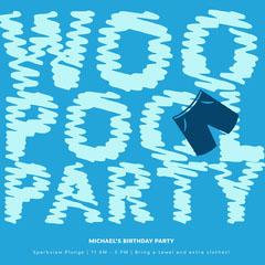 Blue Minimalistic Pool Party Instagram Post Jokes