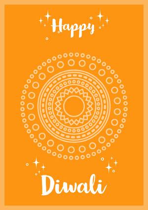 Yellow and White Happy Diwali Wishes Card Diwali