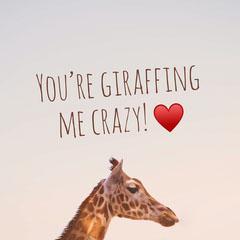 Pink Giraffe Love Instagram Square Social Post Heart