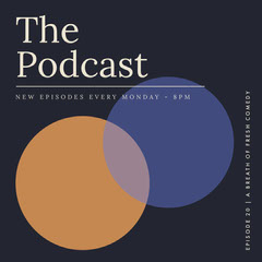 Blue and Orange Circle Minimal The Podcast Instagram Square Comedy