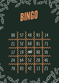 Orange and Black Candy Halloween Party Bingo Card Festa di Halloween
