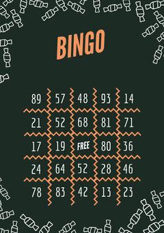 Orange and Black Candy Halloween Party Bingo Card Halloween Party Bingo Card