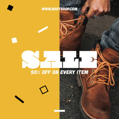 Yellow, White and Brown, Mens Shoes Sale Ad, Instagram Square Men