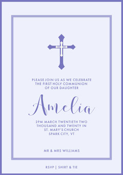 White and Violet Communion Invitation Religion