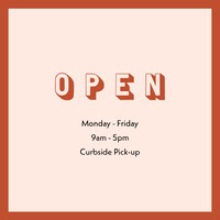Red Frame Business Opening Hours Square Graphic COVID-19 Re-opening