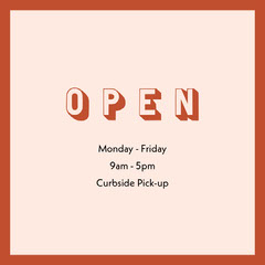 Red Frame Business Opening Hours Square Graphic Frame