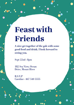 green white colorful polka dots feast with friends dinner party invite card Christmas Invitation