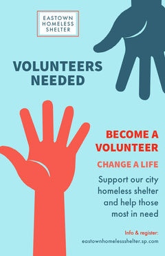 Blue Volunteer Homeless Shelter Poster Volunteer